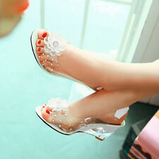 Women Fish Head Sandals Summer Bohemian Transparent Slipper Wedge Sandals Charm