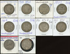 Lot of 10 Assorted Newfoundland Silver Fifty Cents - 1899 to 1919