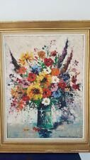 Pot de fleur peinture sur toile signée. Flower pot painting on canvas signed ave