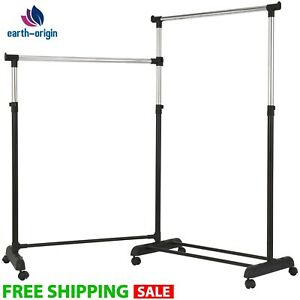 Garment Rack Rolling Clothing Rack Heavy Duty Adjustable Collapsible Portable