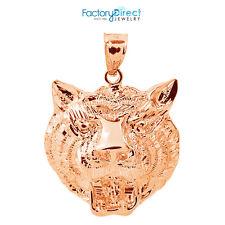 10k Rose Gold Diamond Cut Tiger Head Charm Pendant