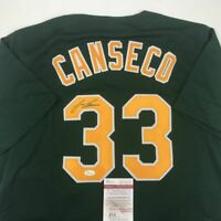 Autographed/Signed JOSE CANSECO Oakland Dark Green Baseball Jersey JSA COA Auto