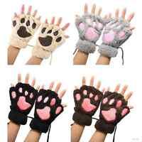 Women Cute Cat Claw Bear Paw Fingerless Winter Warm Plush Wrist Gloves Mittens