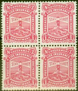 New Zealand 1925 1d Carmine-Pink SGL31b Var Red Dot by E of One Fine MNH Bloc...