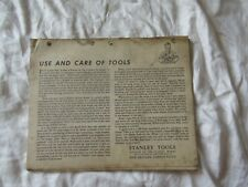 1952 Stanley tool publication Use and Care of Tools