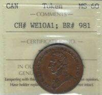 WELLINGTON 1816 Waterloo Halfpenny Token Breton 981 WE-10A1 ICCS MS-60 Inv 3578