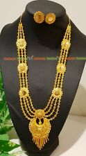 24 carat Gold plated good quality long necklace rani haar earring jewellery M14