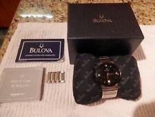 Bulova 96D18 Wrist Watch for Men. Black with Diamonds