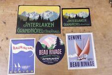 Group of 5 MINT, UNUSED Vintage Luggage Stickers-Switzerland--GROUP 4
