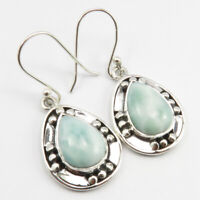 FREE Gift Box ! 925 SOLID Sterling Silver Genuine LARIMAR Earrings 1.5 Inches