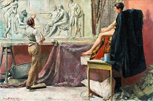 The Sculptors Studio by Tom Roberts A1 High Quality Canvas Print