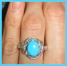Sleeping Beauty Turquoise /Diamond Ring Platinum over Sterling Silver 925 size 6