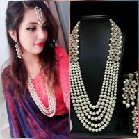 Indian Fashion Pearl Gold Plated Ethnic Bollywood Bridal Jewelry Necklace Set