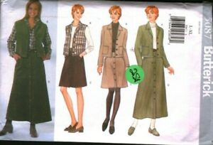 5087 Butterick SEWING Pattern Misses Loose Fitting Jacket Vest Skirt Vintage OOP