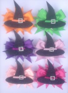 Halloween Hair Bow Ribbon Purple Orange Black Green Pink Lilac Hair Clip Brooch