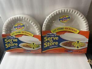 NOS 2 Packs Hefty Serve n Store Everyday Interlocking White Plates 22 & 16 Count