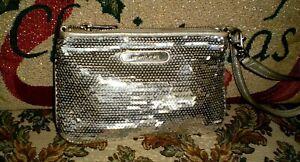 MICHAEL KORS  Metallic Silver Sequins Wristlet Clutch Wallet