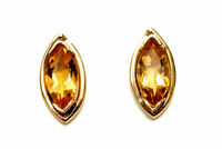 9ct Gold marquise Citrine Studs earrings Gift Boxed Made in UK Christmas