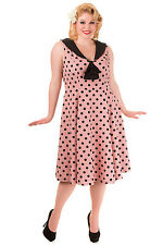 2XL UK 18 PINK POLKA DOT RIVAL DRESS PLUS SIZE BEAUTIFUL BANNED PROM VINTAGE