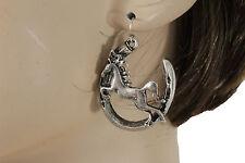 Women Fashion Silver Metal Earrings Set Hook Rodeo Horse Horseshoe Texas Style