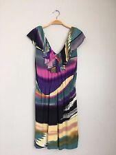 T-BAGS Los Angeles V Neck Ruffle Neck Printed Mini Dress Pink Multi S $248