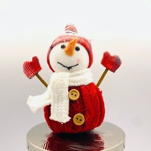 Bath & Body Works SNOWMAN Red White Sweater & Scarf Magnet 3 Wick Candle Topper