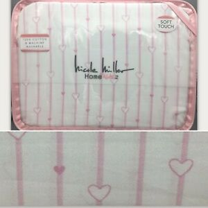 4pc Nicole Miller FULL Sheet Set Pink Hearts Stripe Girls Love White 100% Cotton