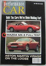 Performance Car 04/1990 featuring Aston Martin, Ford Cosworth, Mazda MX-5, SAAB