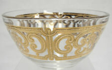 Georges Briard Spanish Gold Dip Bowl Clear Glass with Embossed Gold Fleur de Lis