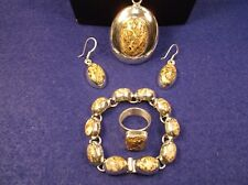 AMAZING STERLING SILVER SET - LEOPARD JASPER BRACELET, NECKLACE, EARRINGS & RING