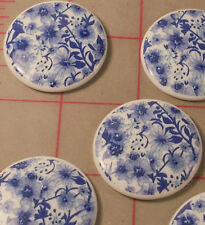 6 Vintage White Plastic Cabochons With Dark Blue Floral Decal Japan 35mm
