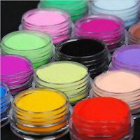 12 Colors Acrylic Nail Art Tips UV Gel Powder Dust DIY Decoration Set Manicure