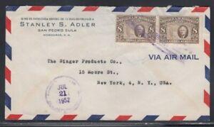 HONDURAS Commercial Cover San Pedro Sula to New York City 21-7-1952 Cancel