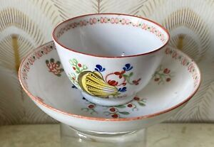 New Hall 1775-80 Tea Bowl+Saucer, Nautilus shell design, ultra rare early piece