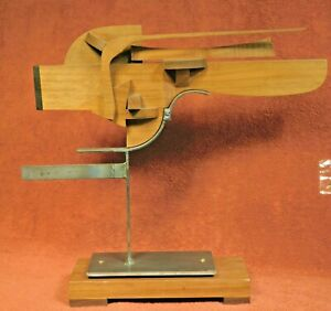 Vintage Mid-Century Modern Steel Teak Wood Abstract Sculpture Constructivist 70s