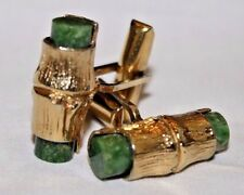 Vintage Sterling Silver and Green Jade Bamboo Design Men's Cufflinks