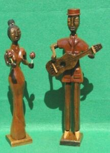 """ART DECO STYLE ASSEMBLED CARVINGS  """"MUSICAL DUO CUBA"""" IN MIXED HARDWOODS"""