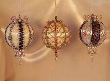 Victorian Style Christmas Tree Ornaments - Pink/Green w/Black Accents set of 3