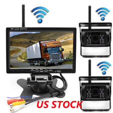 "Wireless Truck Trailer Bus Reverse Backup Rear View System IR 2Camera+7"" Monitor"