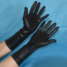 LATEX BLACK GUM TIGHT GLOVES HANDS RUBBER FANCY DRESS HALLOWEEN HORROR SCIENTIST
