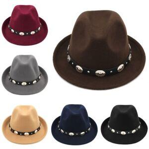 Fashion Unisex Felt Fedora Trilby Cap Classic Gangster Hat Leather Belt Band