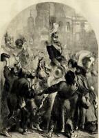 Czar Alexander II Crowing Moscow Crowd celebration 1856 ILN wood engraved print