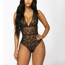 Hot Sexy Women Babydoll Pajamas Lingerie Hollow Lace Bodysuit Nightwear