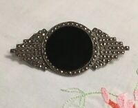 "ANTIQUE ART DECO STERLING, ONYX AND RHINESTONES PIN BROOCH 2-9/16x1-1/4"" Old"