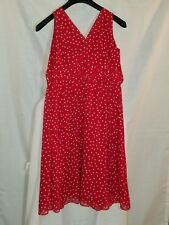 GEORGE ME 40's Style Red Polka Dot Pleat Waist Chiffon Lined Party Club Dress 10