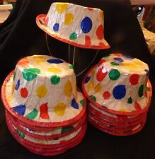 Vtg 1950s Cardboard & Cellophane Polka Dot New Year or Birthday Party Hats