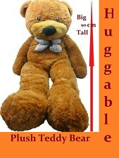 90CM GIANT HUGE STUFFED TEDDY BEAR & BOW TIE HUGGABLE SOFT PLUSH DARK TAN NEW