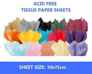 20 SHEETS ACID FREE TISSUE PAPER VARIOUS COLOUR 500X750 - FULL SIZE