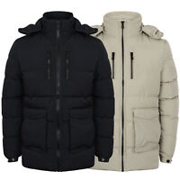 Mens Jacket Dissident Parka Style Coat Quilted Padded Hoodie Bubble Lined Winter