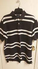Lands End Men's XL 2 Button Short Sleeve Polo XL - Navy/white Stripe